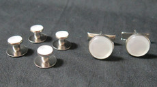 Pearl White and Silver Studs and Cufflinks Set