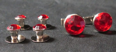 Red and Silver Studs and Cufflinks Set