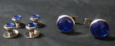Royal Blue and Silver Studs and Cufflinks