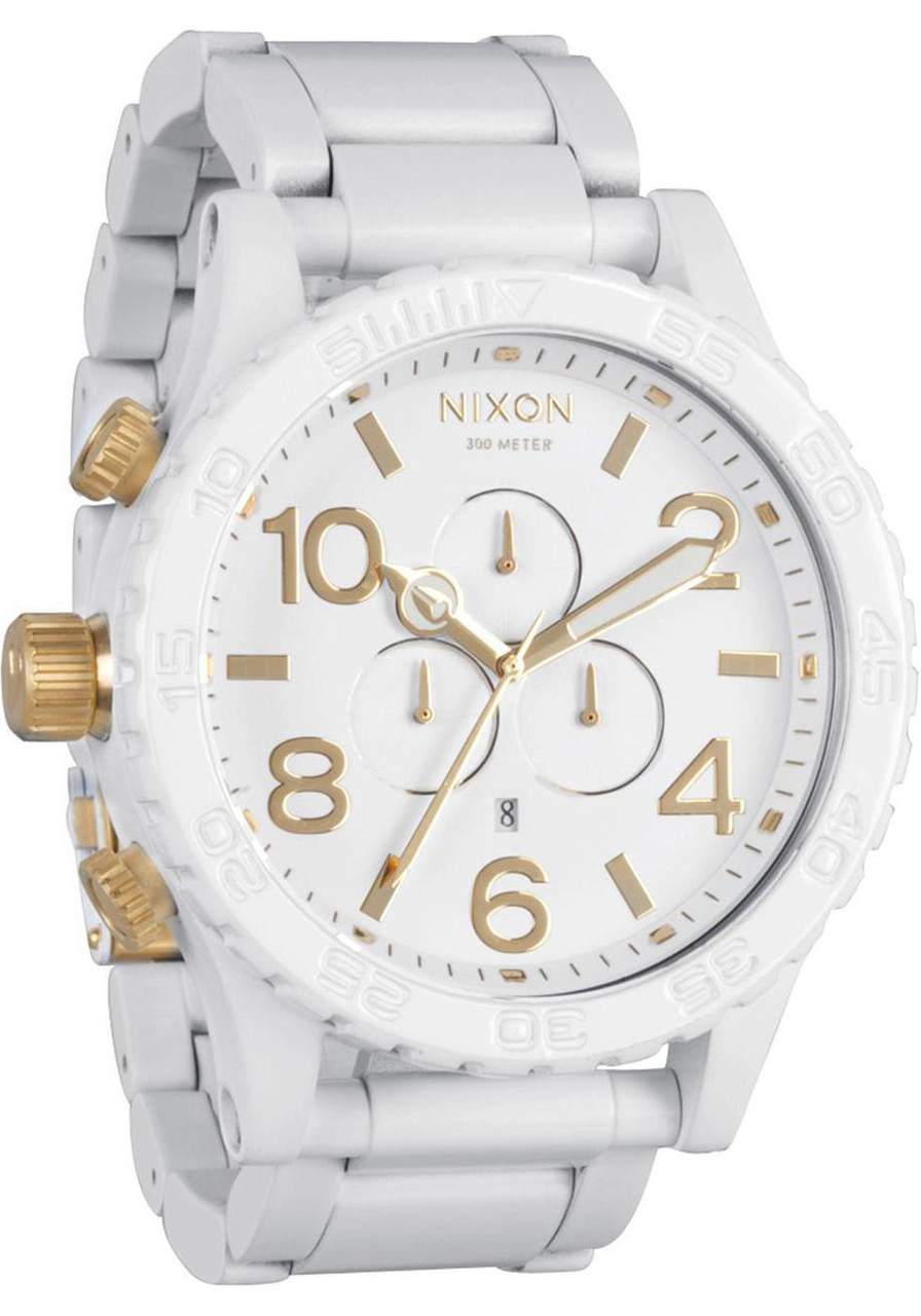 nixon 51 30 chrono all white gold watches