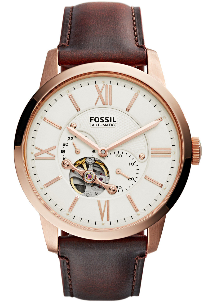 fossil townsman leather automatic brown rose gold. Black Bedroom Furniture Sets. Home Design Ideas