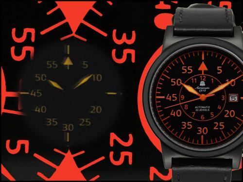 Aeromatic XL Automatic Military Flier Black Orange