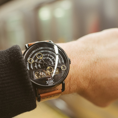 Xeric black tan halograph automatic limited edition for Black tan watch