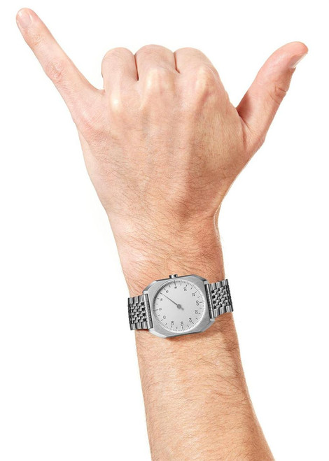 Slow Mo 01 One Hand All Silver Steel Silver Dial