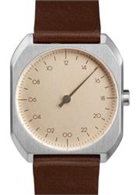 Slow Mo 08 One Hand Dark Brown Leather Silver Case