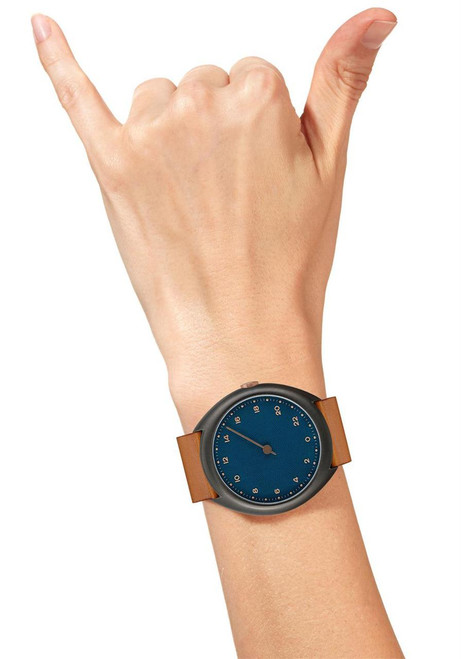 Slow O 15 24 Hour One Hand Vintage Leather Anthracite Blue