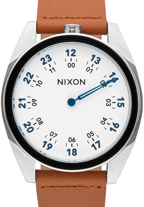 Nixon Genesis Leather White/Saddle One Hand watch