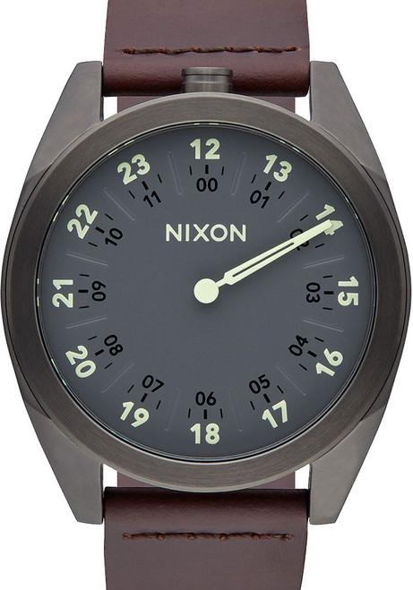 Nixon Genesis Leather Gunmetal/Brown One Hand watch