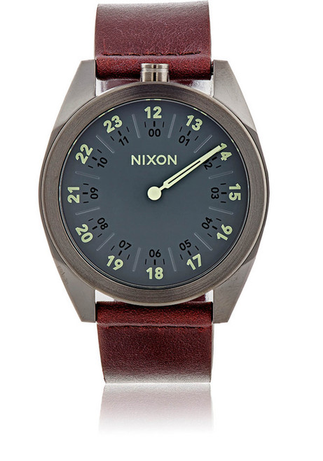 Nixon Genesis Leather Gunmetal/Brown watch (A9261388)