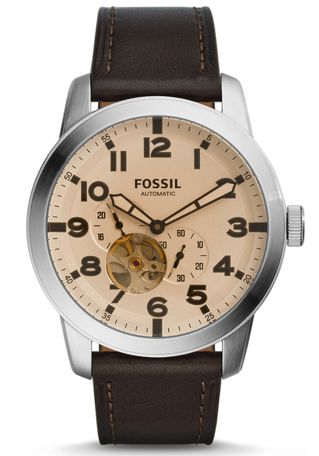 Fossil ME3119 Pilot 54 Automatic Tinted Dark Brown Leather