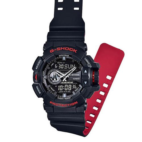 G-Shock GA-400 Anadigi Black Red (GA-400HR-1A) FLAT