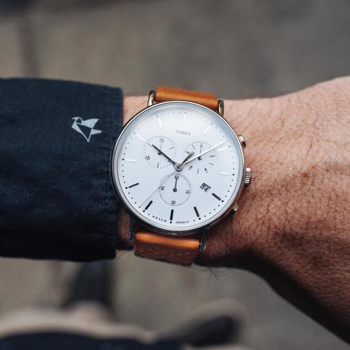 Timex Fairfield Chrono Leather White Brown