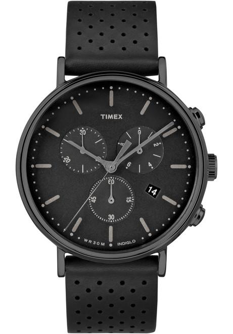 Timex Fairfield Chrono Leather All Black