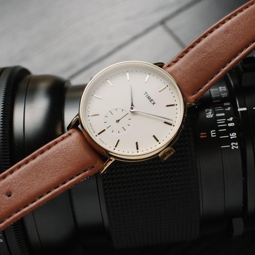 Timex Fairfield Sub Second Cream Gold Brown (TW2R37900VQ)