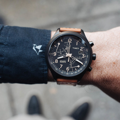 Timex Intelligent Quartz Flyback Chrono Black Tan (T2N700ZA)