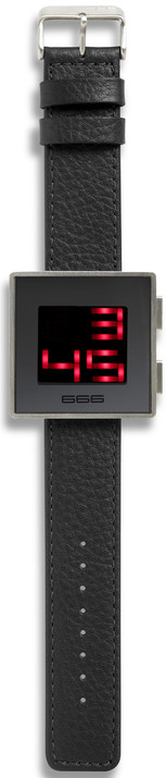 XXLED - Oversize LED Digital Box Watch - Black Leather