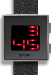 XXLED - Oversize LED Digital Box Watch - Black Leather