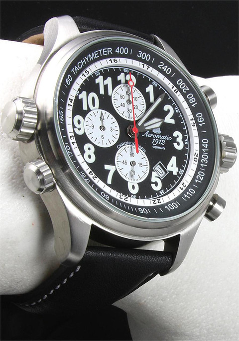 Aeromatic 131A Black Pilot's Chronograph
