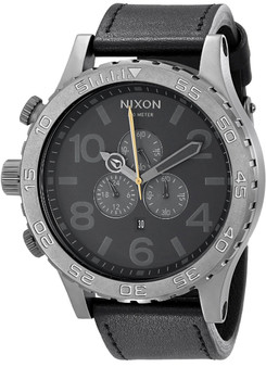 51-30 Nixon Chrono Leather Gunmetal