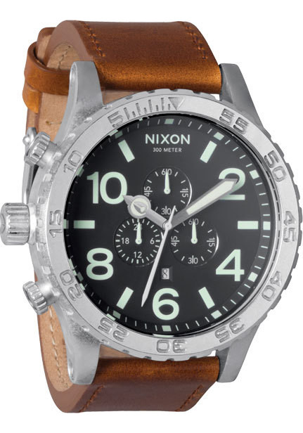 Nixon 51-30 Chrono Leather Black/Saddle