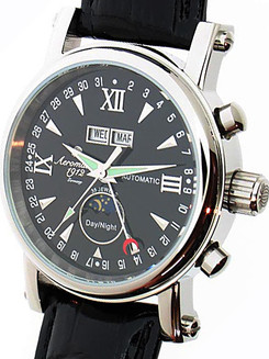Aeromatic 35 Jewel Automatic Day/Night Black Leather