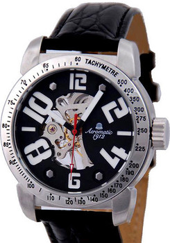 Aeromatic 374A Mechanical Skeleton Steel/Leather