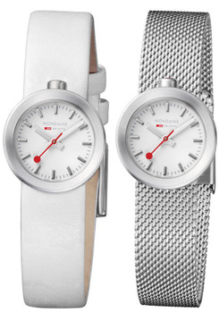 Mondaine Ladies Aura Double Strap White & Mesh