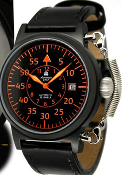 Aeromatic XL Automatic Military Flier Black Orange