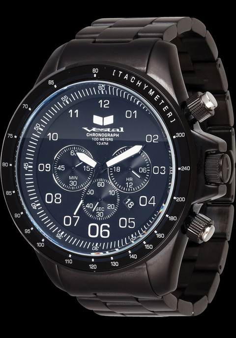 Vestal ZR3021 ZR3 Black Luminous Chronograph