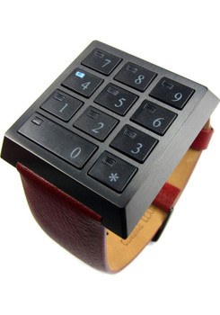 Click Safe Limited Edition Stainless Steel /Black Red Leather