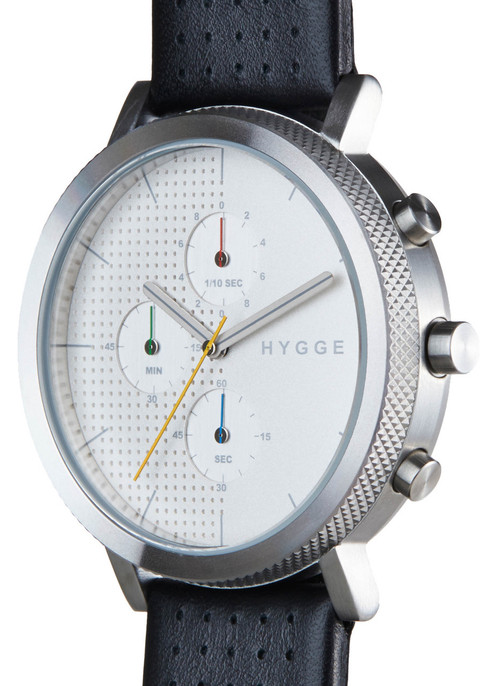 HYGGE 2204 Duality Chrono Leather Silver