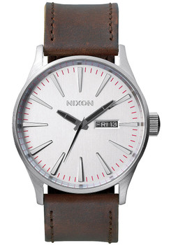 Nixon Sentry Leather Silver/Brown