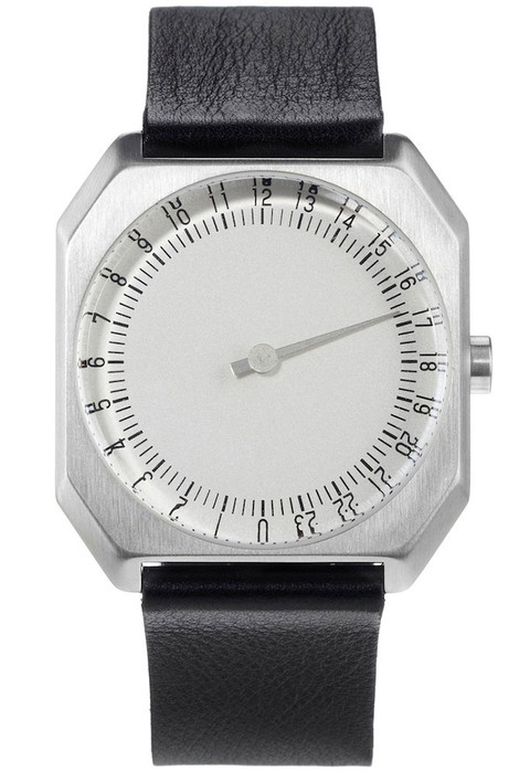 Slow Jo 24 Hour One Hand Black Leather/Silver Dial