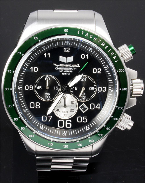 Vestal ZR3026 Steel/Green Chronograph