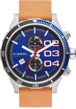 Diesel DZ4322 Double Down 48 Navy Blue & Tan Chronograph