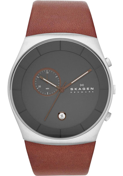 skagen skw6085 chronograph brown leather watches