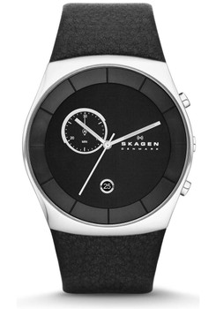 Skagen SKW6070 Havene Chronograph Black Leather Watch