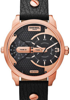 Diesel DZ7317 Mini Daddy Leather Black/Rose Gold