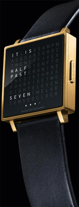 Qlocktwo W Yellow Gold -Brushed