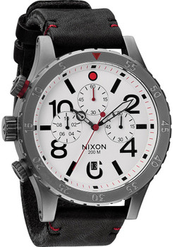 Nixon 48-20 Chrono Leather Gunmetal/White (A363486)