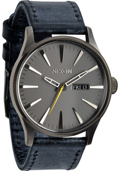 Nixon Sentry Leather Gunmetal Navy Blue