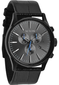 Nixon Sentry Chrono Gator Leather Black