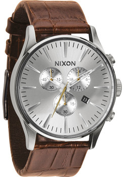 Nixon Sentry Chrono Gator Leather Saddle Brown