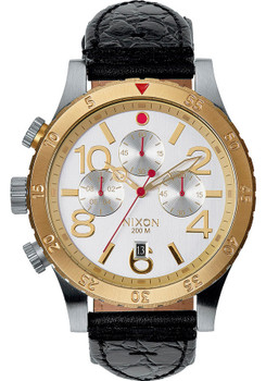 Nixon 48-20 Chrono Leather Silver/Gold (A3631884)