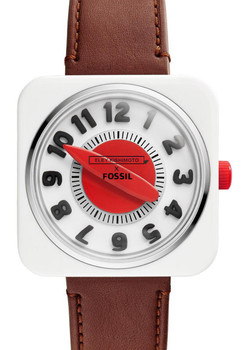 Fossil x Eley Kishimoto Retro Timer Ltd. Edition Watch - White/Brown/Red