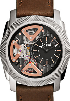 Fossil ME1157 Twist Skeleton Brown/Silver