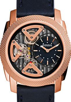 Fossil ME1158 Twist Skeleton Navy/Rose Gold