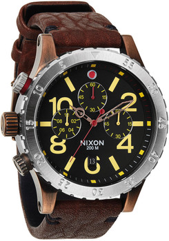 Nixon 48-20 Chrono Leather Antique Copper