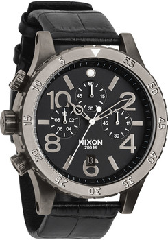 Nixon 48-20 Chrono Leather Black Gator