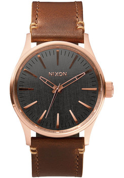 Nixon Sentry 38 Leather Rose Gold/Gunmetal